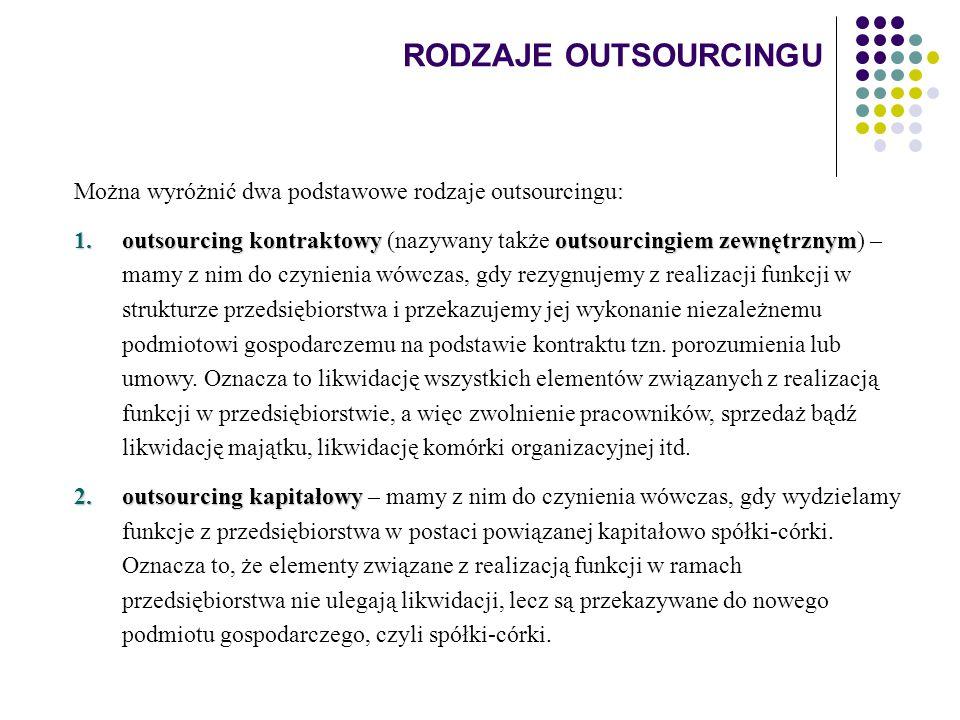 RODZAJE OUTSOURCINGU Można wyróżnić dwa podstawowe rodzaje outsourcingu: