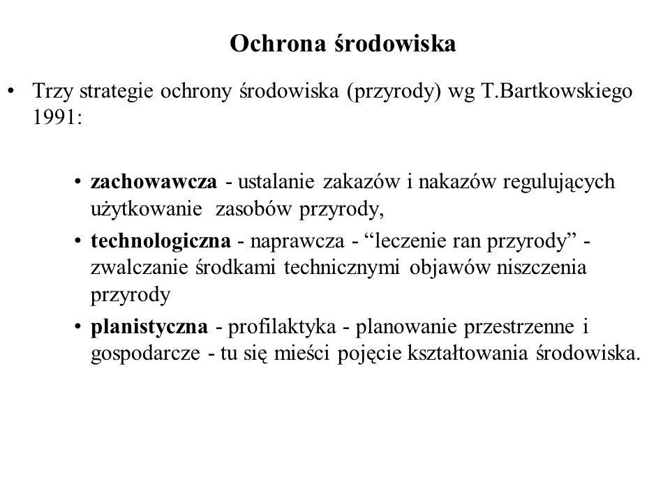 Ochrona środowiska Trzy strategie ochrony środowiska (przyrody) wg T.Bartkowskiego 1991:
