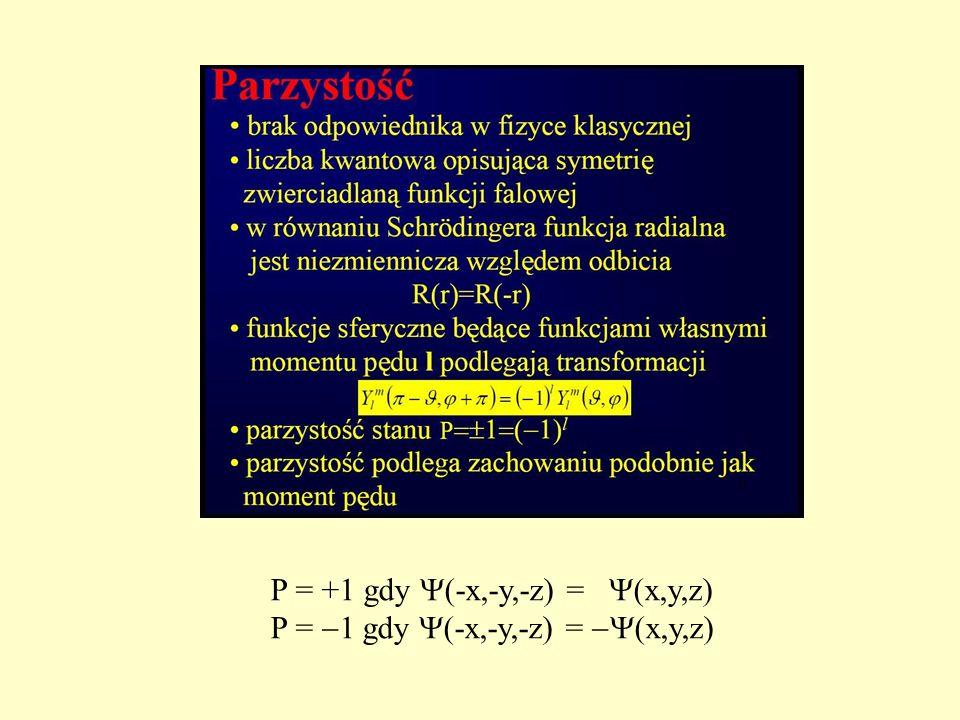 P = +1 gdy (-x,-y,-z) = (x,y,z)