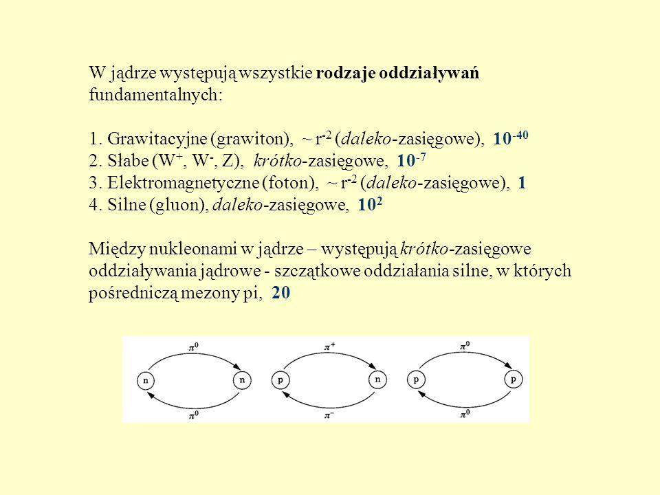 W jądrze występują wszystkie rodzaje oddziaływań fundamentalnych: 1