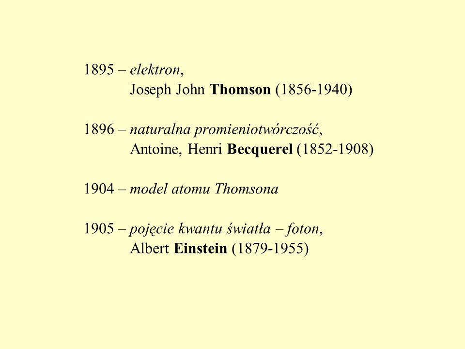 1895 – elektron, Joseph John Thomson (1856-1940) 1896 – naturalna promieniotwórczość, Antoine, Henri Becquerel (1852-1908)