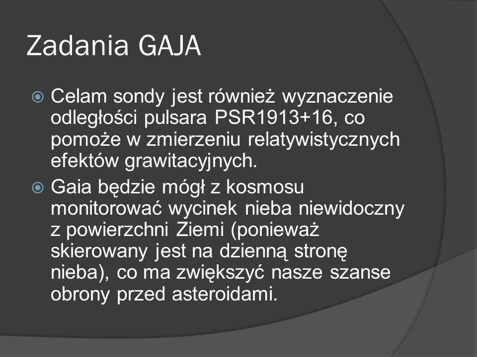 Zadania GAJA Celam sondy jest również wyznaczenie odległości pulsara PSR1913+16, co pomoże w zmierzeniu relatywistycznych efektów grawitacyjnych.