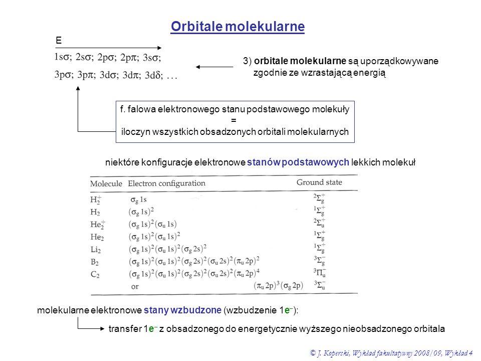 Orbitale molekularne E 3) orbitale molekularne są uporządkowywane