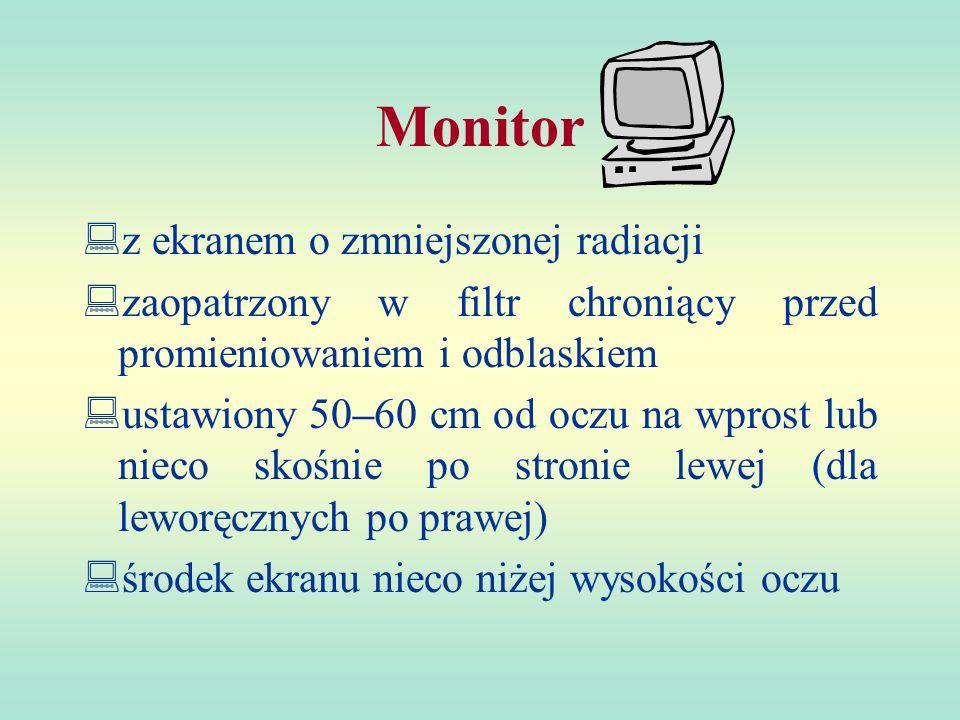 Monitor z ekranem o zmniejszonej radiacji