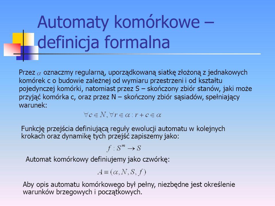 Automaty komórkowe – definicja formalna