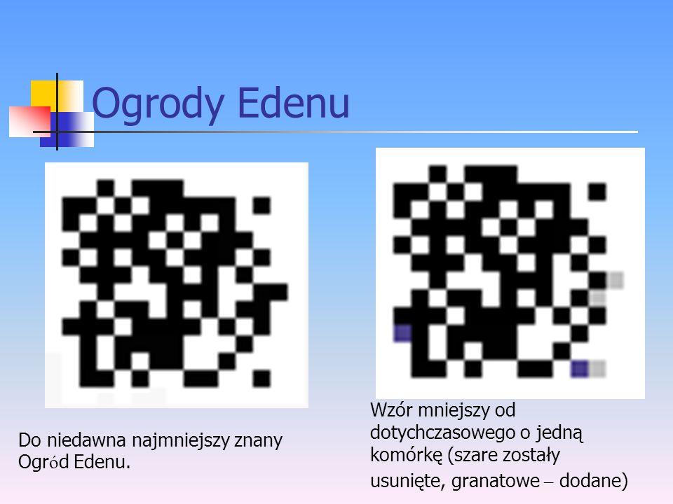 Ogrody Edenu Wzór mniejszy od dotychczasowego o jedną komórkę (szare zostały usunięte, granatowe – dodane)