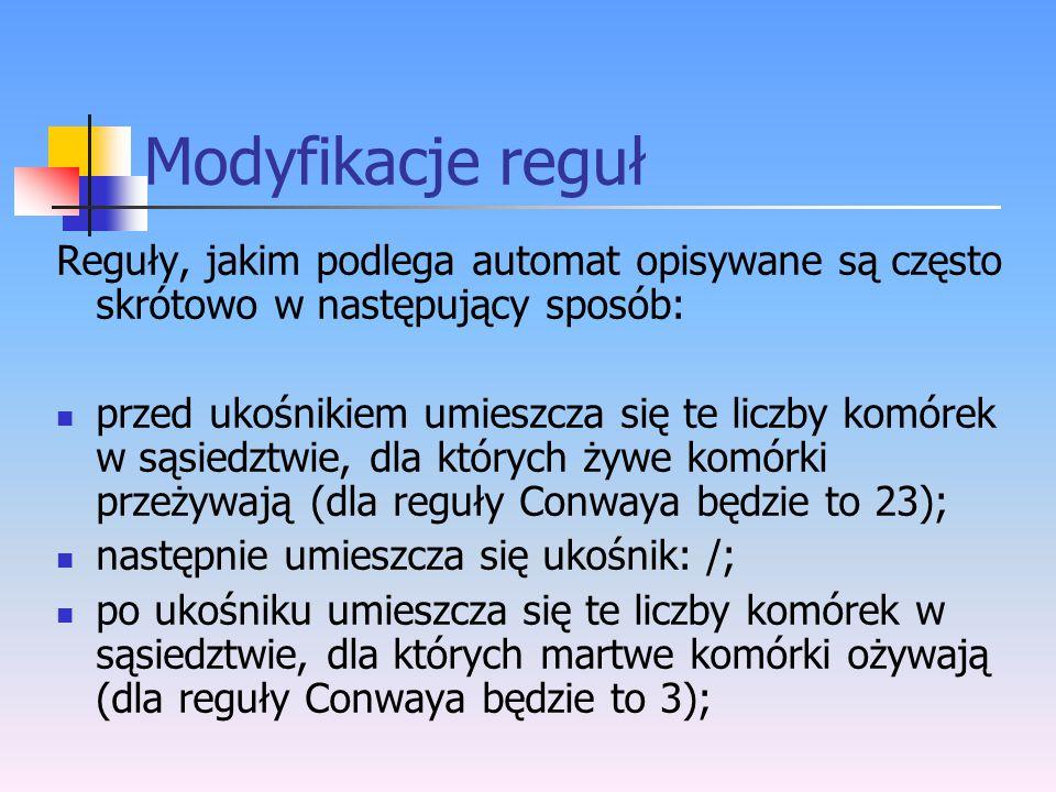 Modyfikacje reguł Reguły, jakim podlega automat opisywane są często skrótowo w następujący sposób: