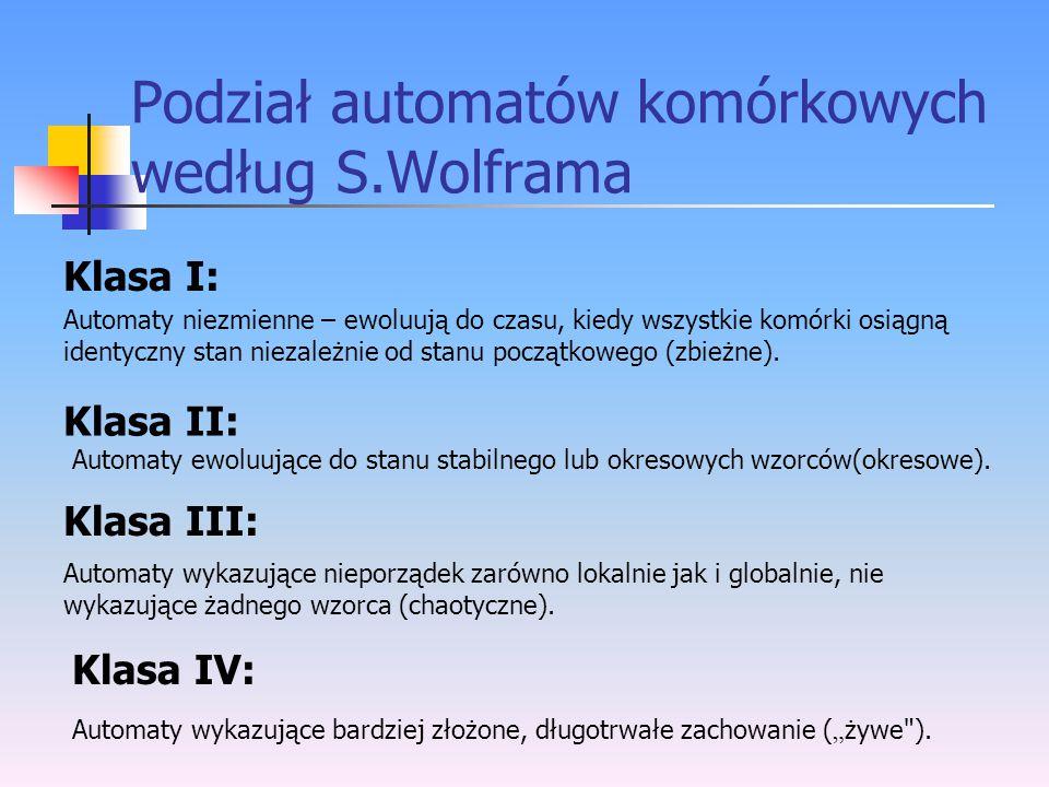 Podział automatów komórkowych według S.Wolframa