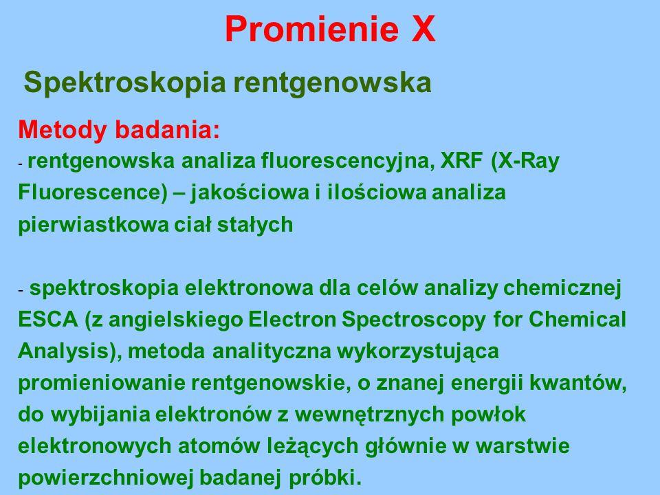 Promienie X Spektroskopia rentgenowska Metody badania: