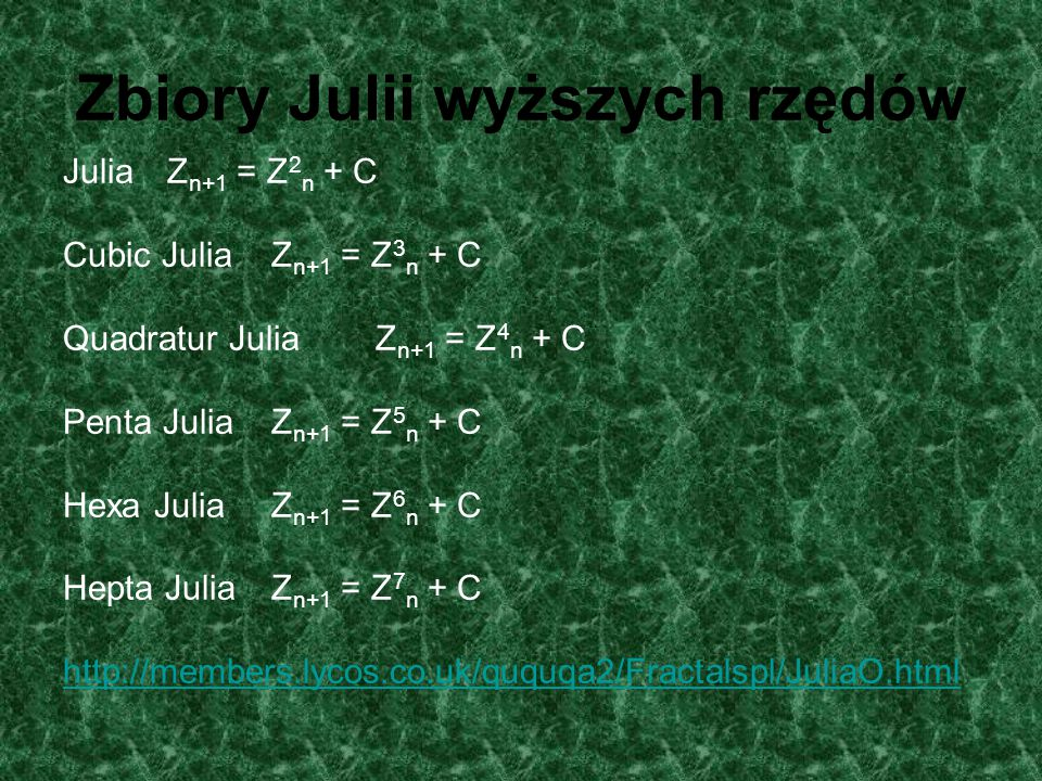 Zbiory Julii wyższych rzędów