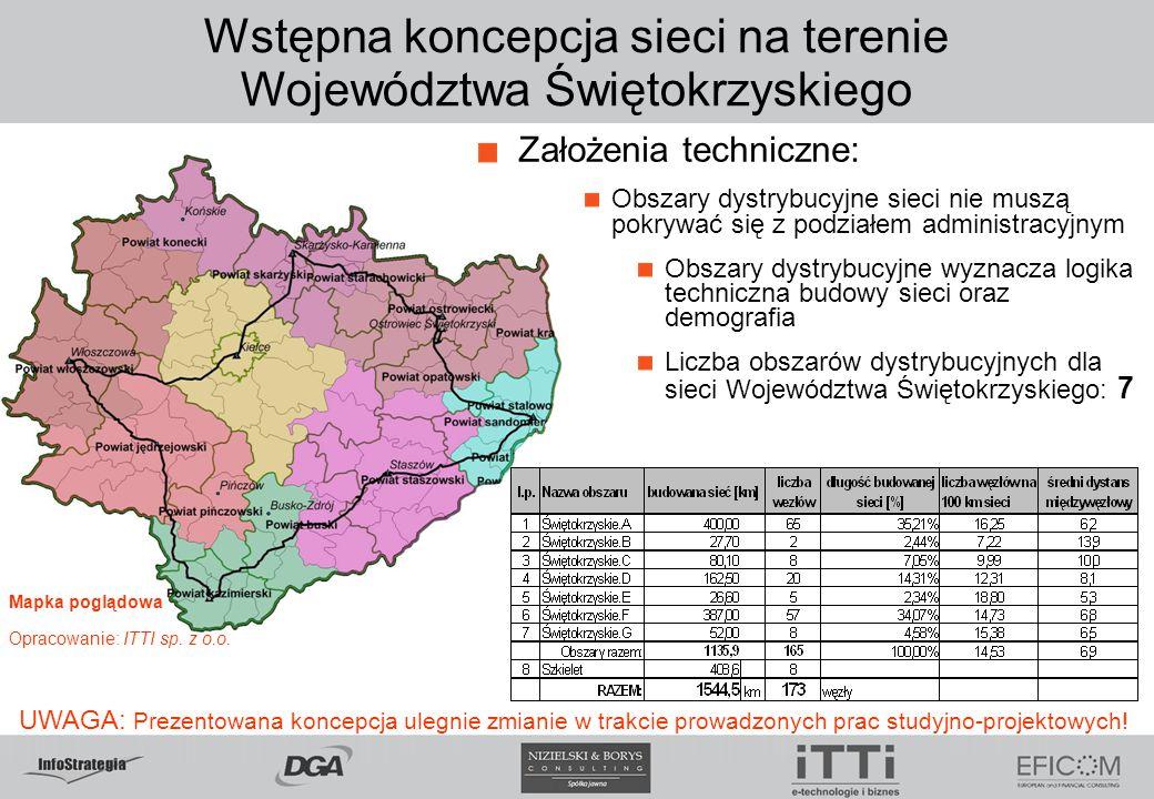 Wstępna koncepcja sieci na terenie Województwa Świętokrzyskiego