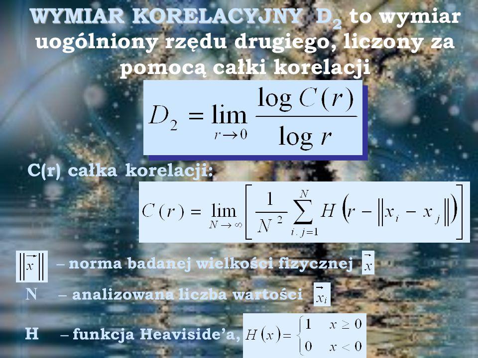 WYMIAR KORELACYJNY D2 to wymiar uogólniony rzędu drugiego, liczony za pomocą całki korelacji