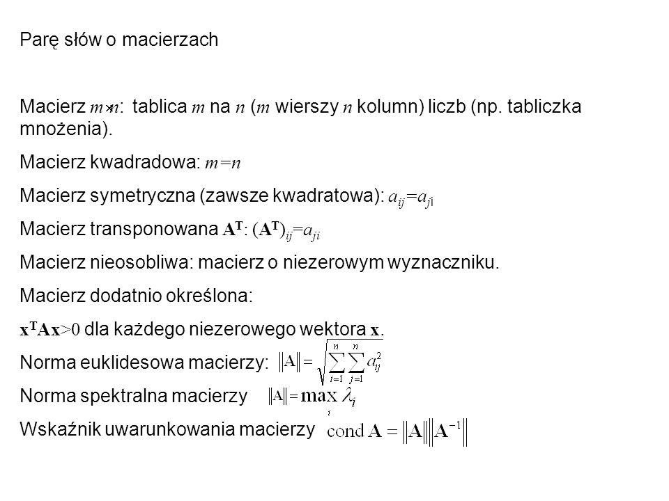 Parę słów o macierzach Macierz m´n: tablica m na n (m wierszy n kolumn) liczb (np. tabliczka mnożenia).
