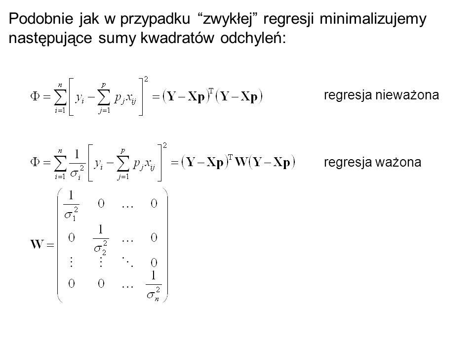 Podobnie jak w przypadku zwykłej regresji minimalizujemy następujące sumy kwadratów odchyleń: