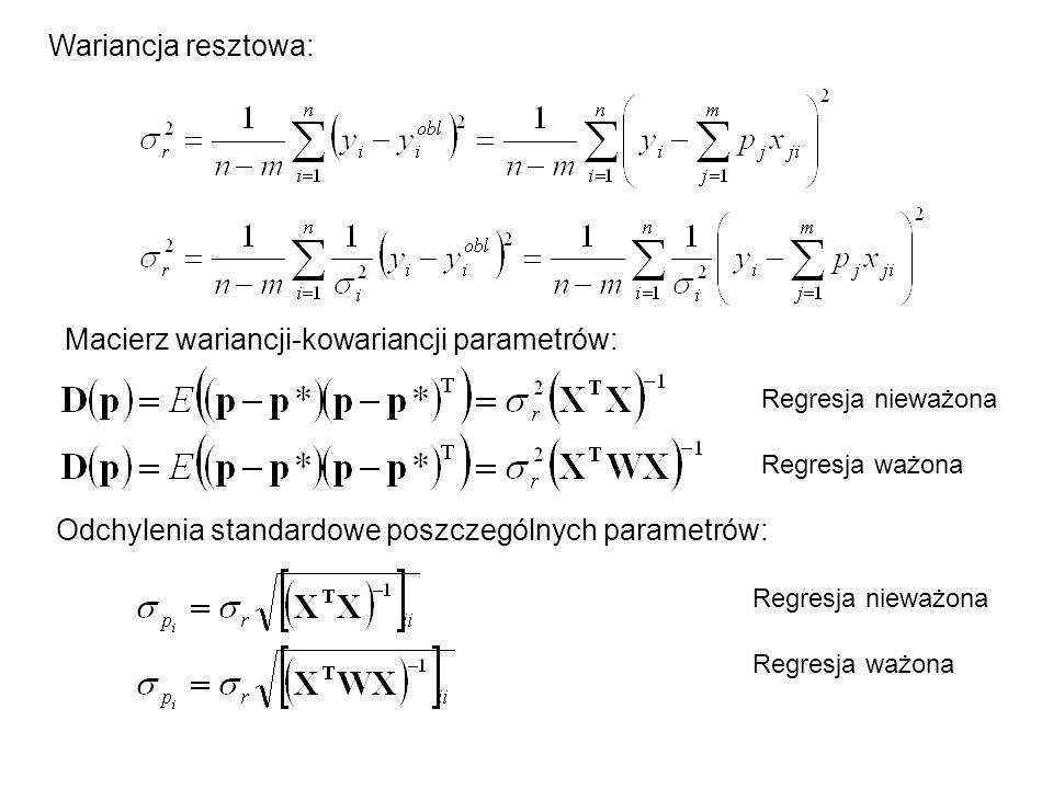 Macierz wariancji-kowariancji parametrów: