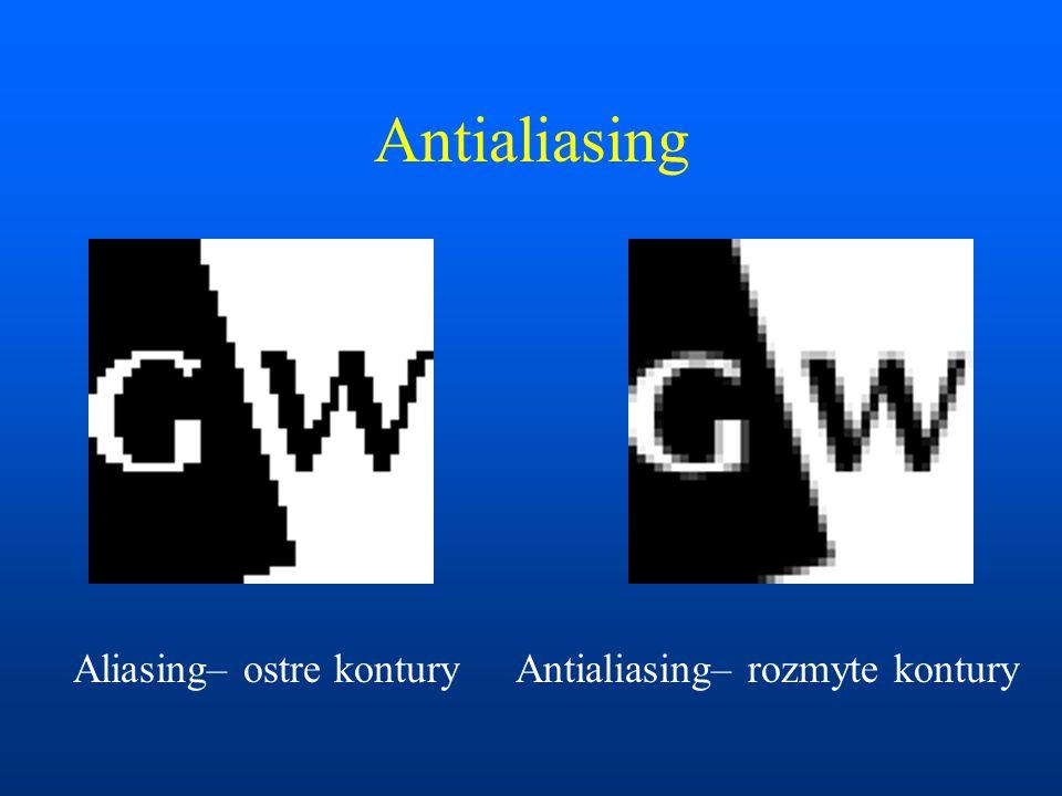 Antialiasing Aliasing– ostre kontury Antialiasing– rozmyte kontury