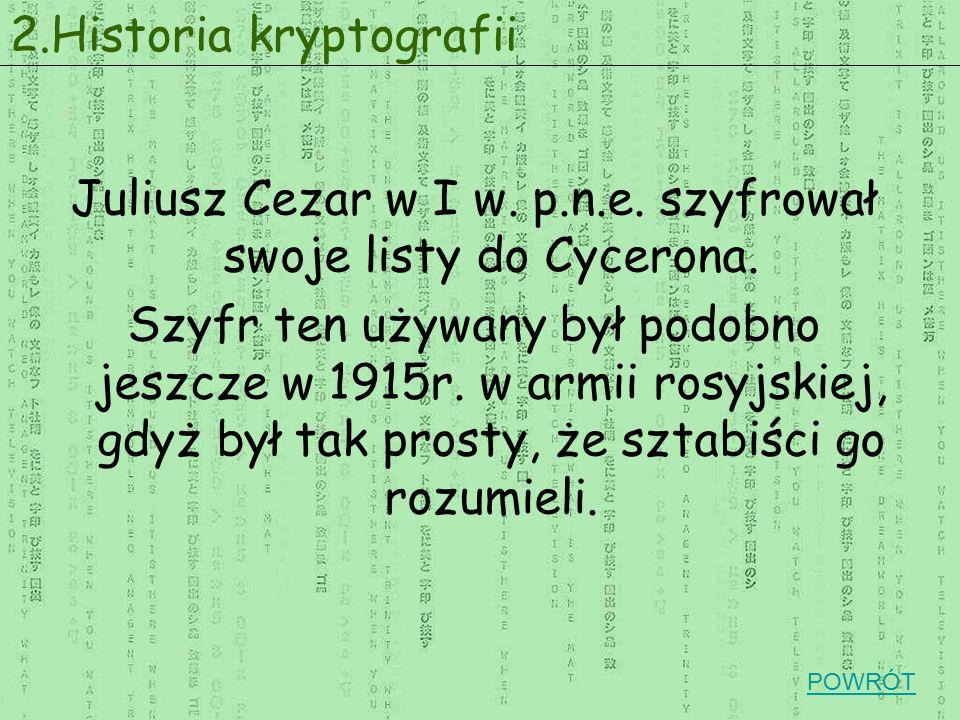 Juliusz Cezar w I w. p.n.e. szyfrował swoje listy do Cycerona.