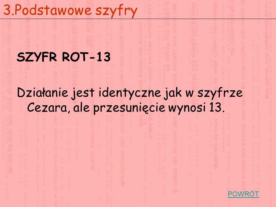 3.Podstawowe szyfry SZYFR ROT-13