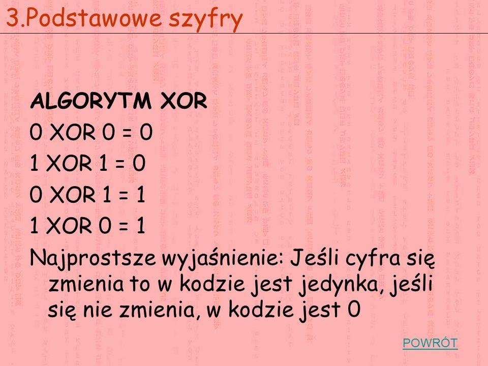 3.Podstawowe szyfry ALGORYTM XOR 0 XOR 0 = 0 1 XOR 1 = 0 0 XOR 1 = 1