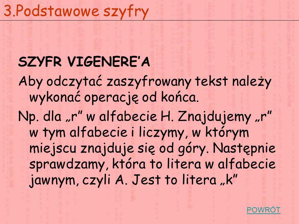 3.Podstawowe szyfry SZYFR VIGENERE'A