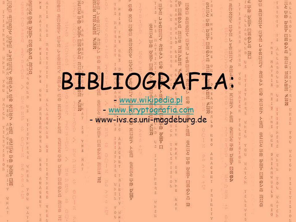 BIBLIOGRAFIA: - www. wikipedia. pl - www. kryptografia. com - www-ivs