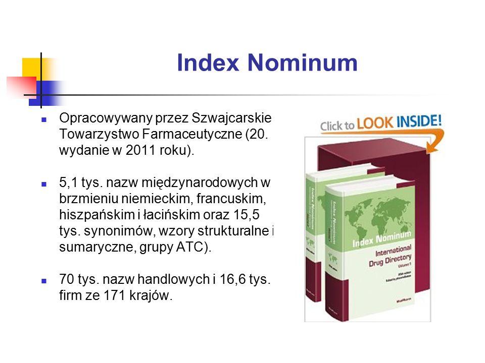 Index Nominum Opracowywany przez Szwajcarskie Towarzystwo Farmaceutyczne (20. wydanie w 2011 roku).