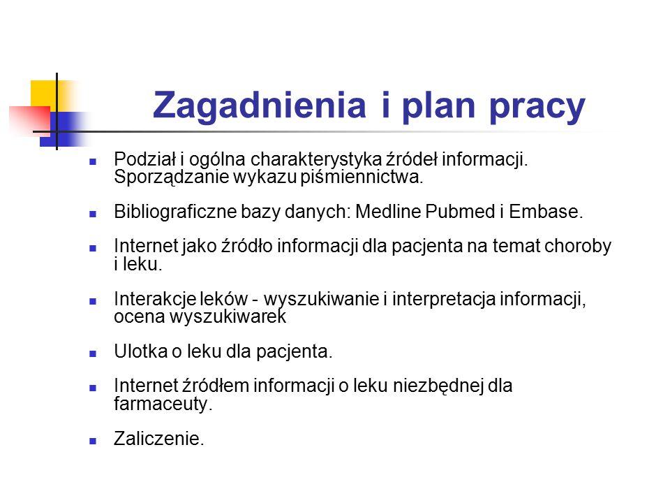 Zagadnienia i plan pracy