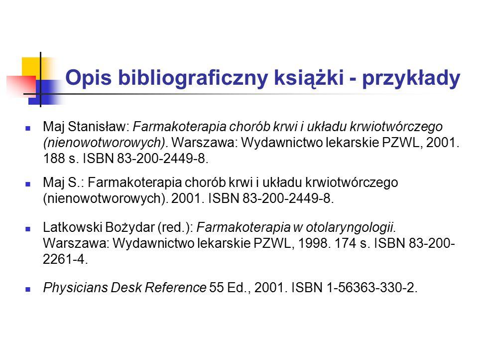 Opis bibliograficzny książki - przykłady