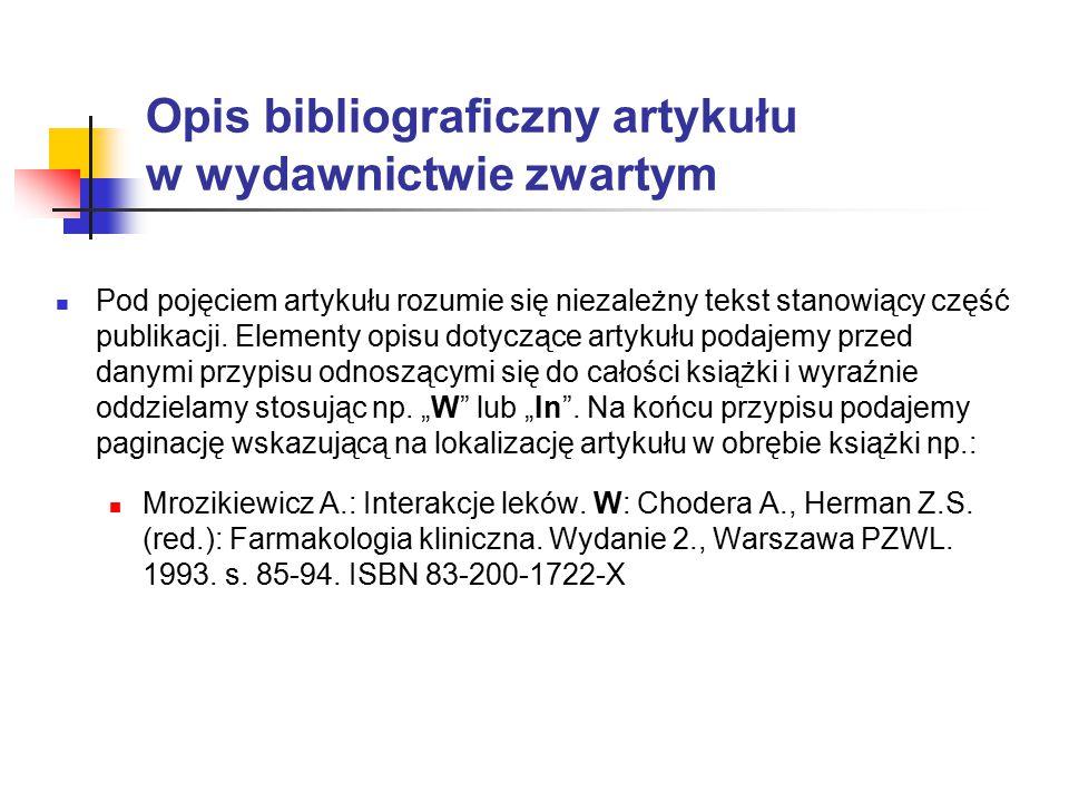 Opis bibliograficzny artykułu w wydawnictwie zwartym
