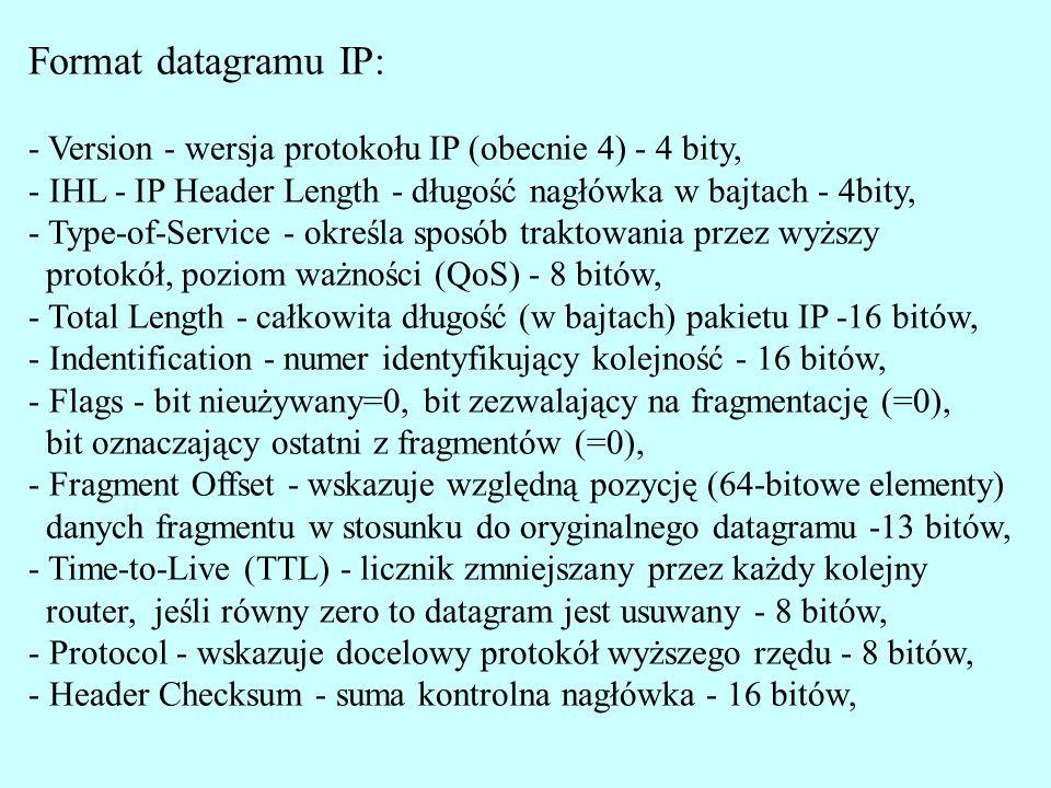 Format datagramu IP: - Version - wersja protokołu IP (obecnie 4) - 4 bity, - IHL - IP Header Length - długość nagłówka w bajtach - 4bity,
