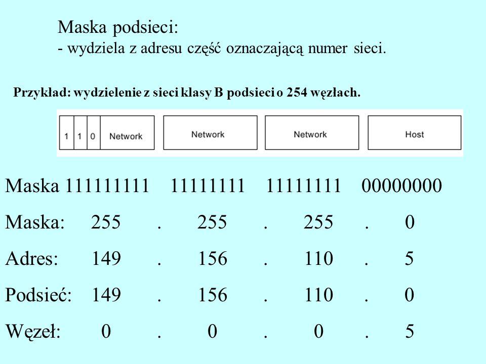 Maska podsieci: - wydziela z adresu część oznaczającą numer sieci. Przykład: wydzielenie z sieci klasy B podsieci o 254 węzłach.