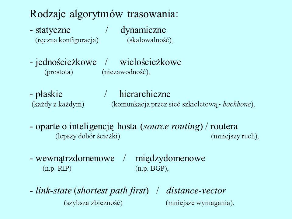 Rodzaje algorytmów trasowania: