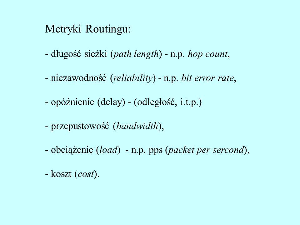 Metryki Routingu: - długość sieżki (path length) - n.p. hop count,