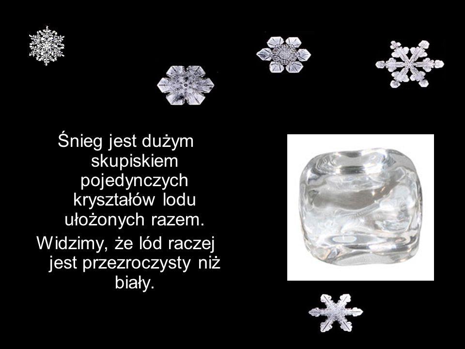 Widzimy, że lód raczej jest przezroczysty niż biały.
