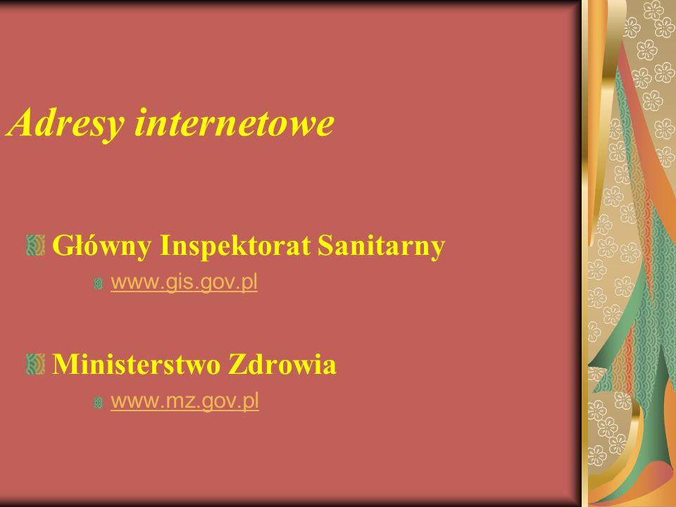 Adresy internetowe Główny Inspektorat Sanitarny Ministerstwo Zdrowia