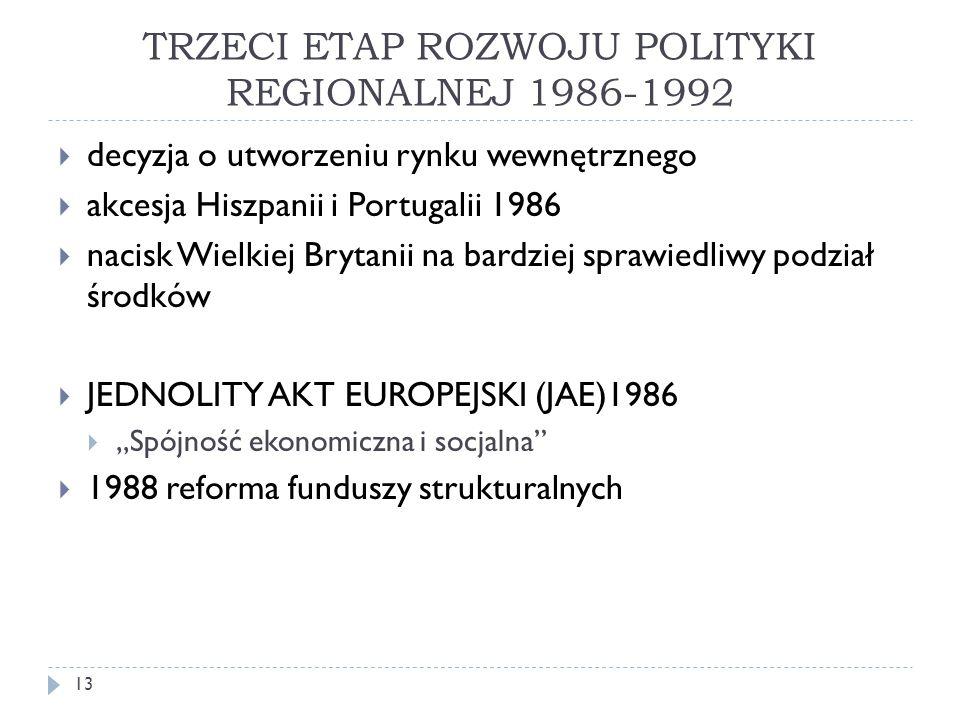 TRZECI ETAP ROZWOJU POLITYKI REGIONALNEJ 1986-1992