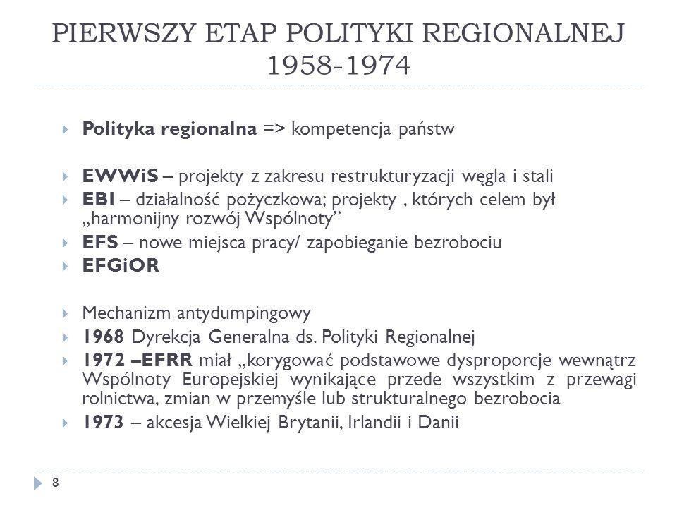 PIERWSZY ETAP POLITYKI REGIONALNEJ 1958-1974