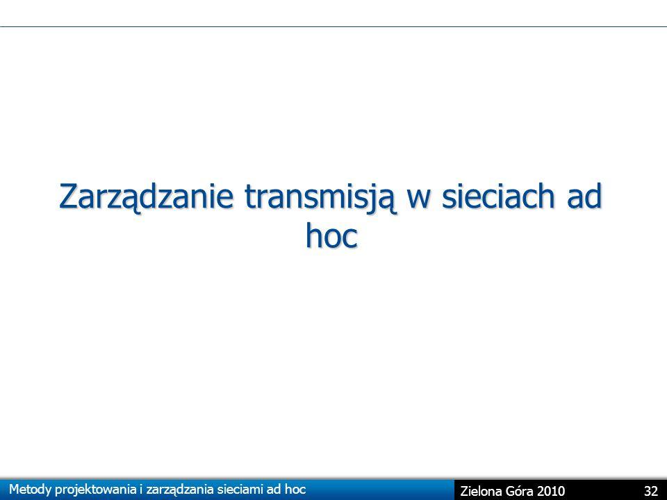Zarządzanie transmisją w sieciach ad hoc
