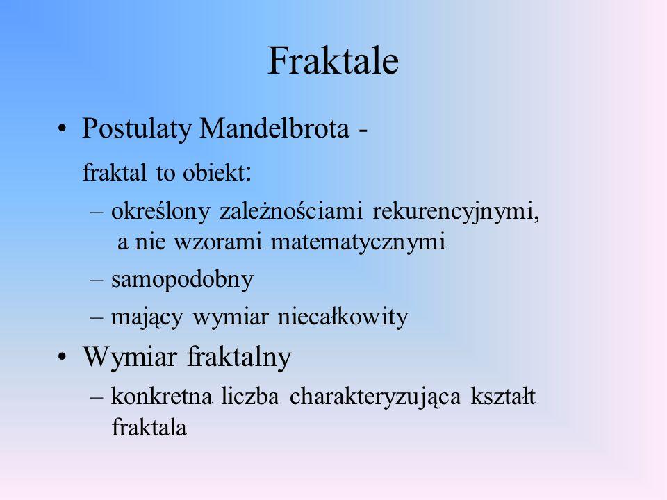 Fraktale Postulaty Mandelbrota - Wymiar fraktalny fraktal to obiekt: