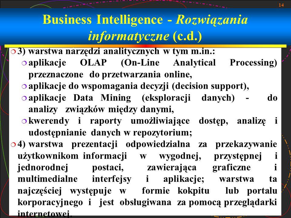 Business Intelligence - Rozwiązania informatyczne (c.d.)