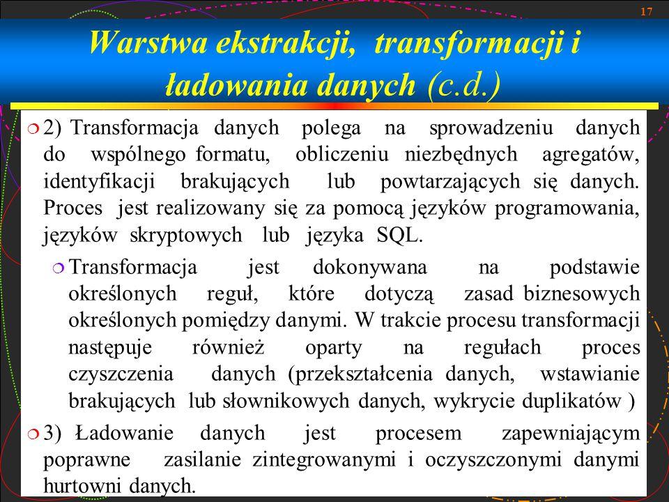 Warstwa ekstrakcji, transformacji i ładowania danych (c.d.)