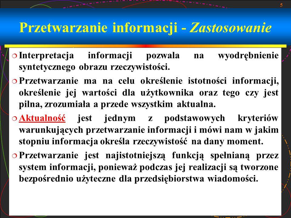 Przetwarzanie informacji - Zastosowanie