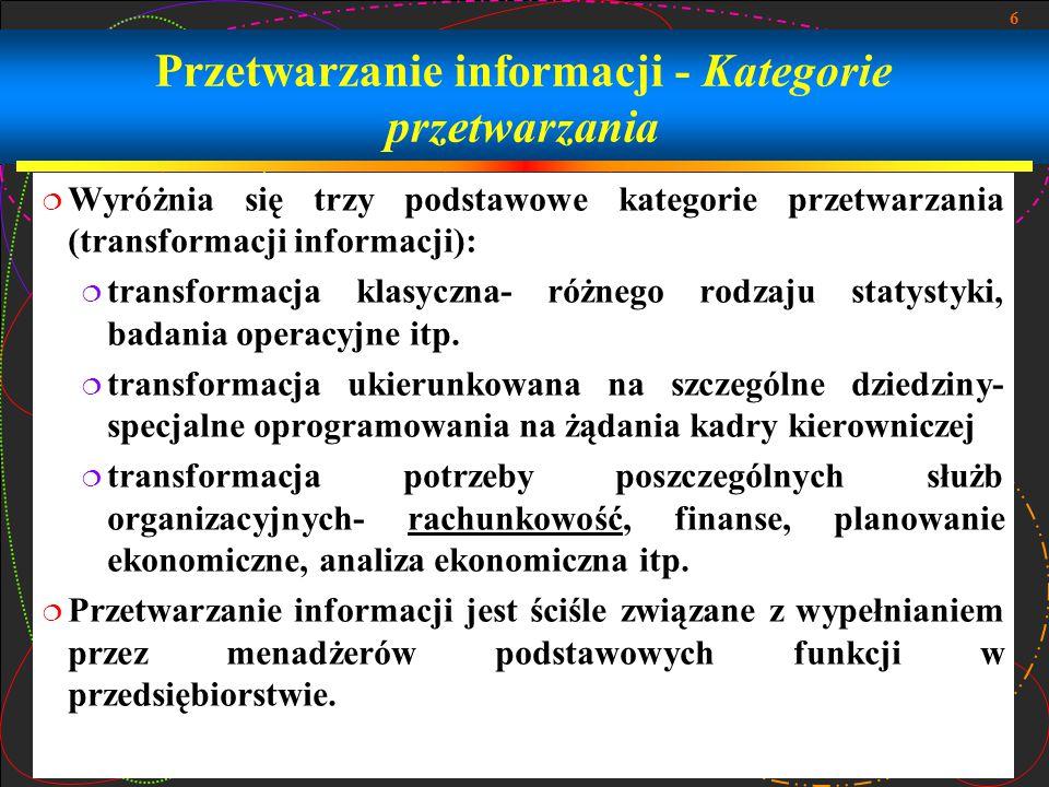Przetwarzanie informacji - Kategorie przetwarzania