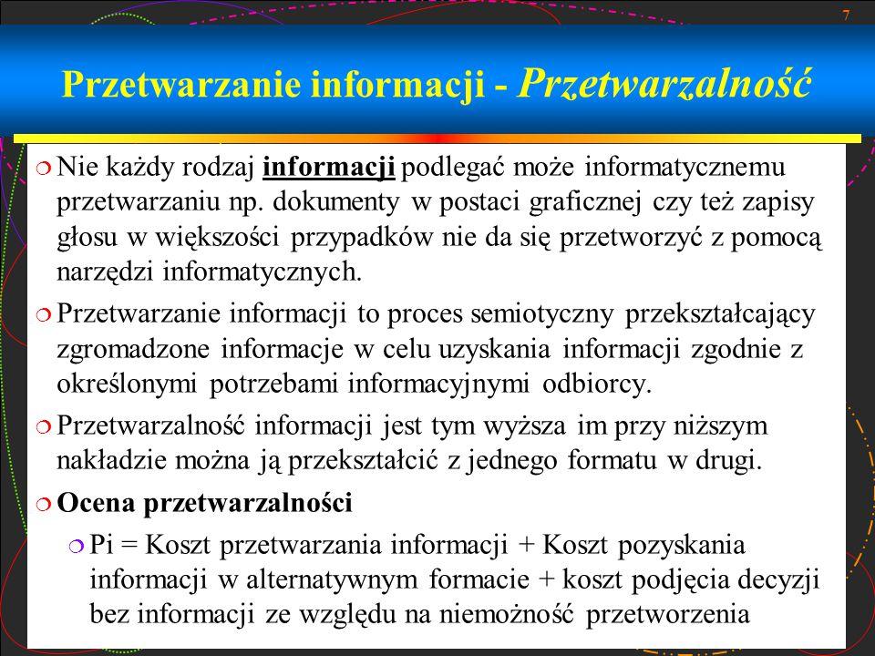 Przetwarzanie informacji - Przetwarzalność