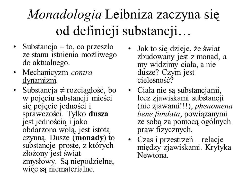 Monadologia Leibniza zaczyna się od definicji substancji…
