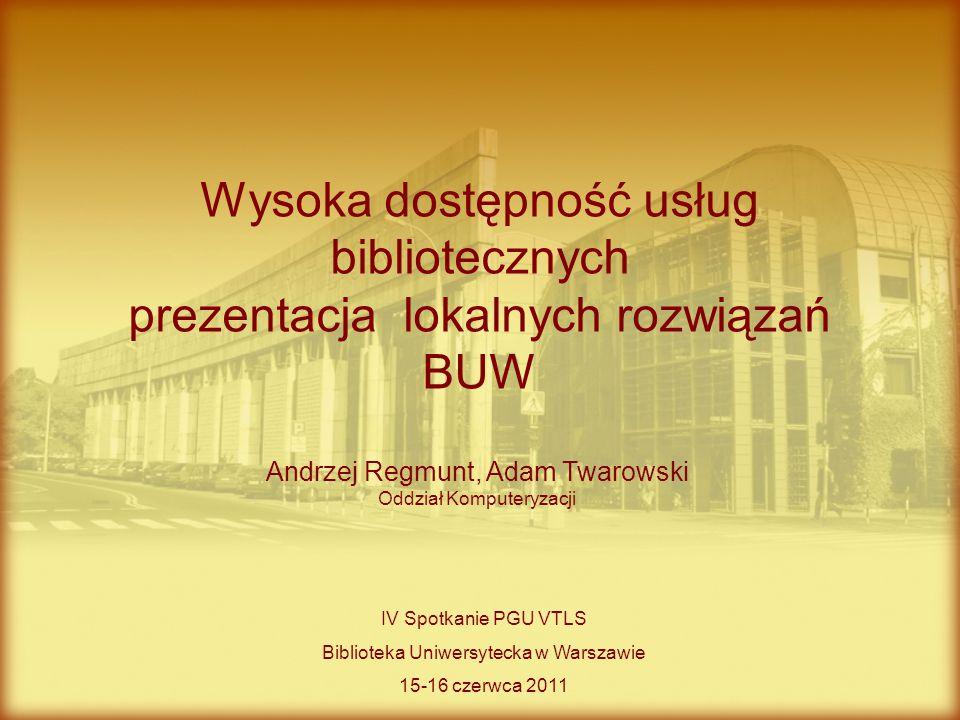 Wysoka dostępność usług bibliotecznych prezentacja lokalnych rozwiązań BUW