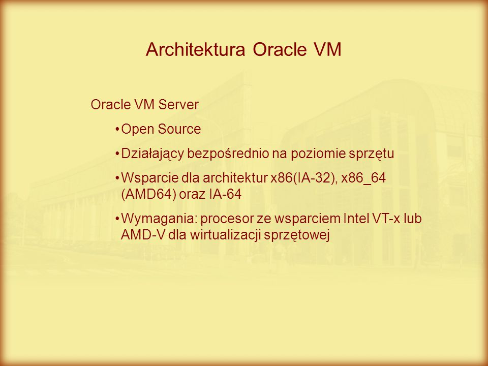 Architektura Oracle VM