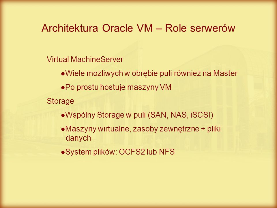 Architektura Oracle VM – Role serwerów
