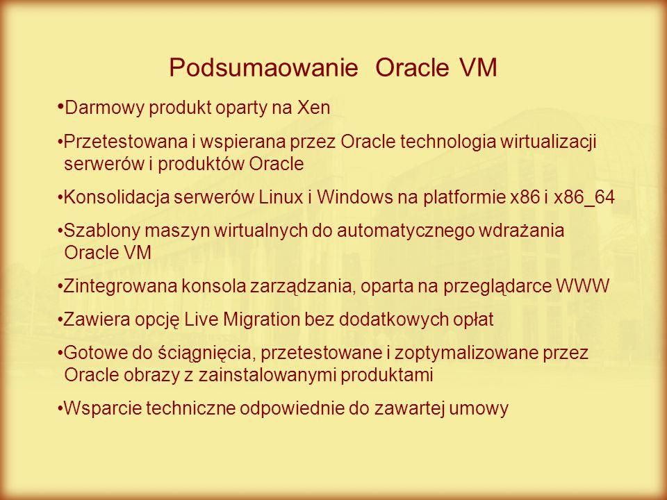 Podsumaowanie Oracle VM