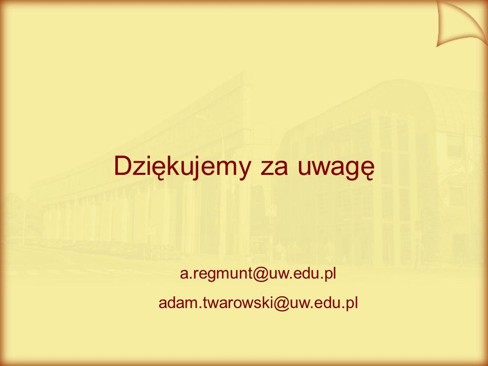 Dziękujemy za uwagę a.regmunt@uw.edu.pl adam.twarowski@uw.edu.pl
